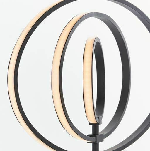 Avali 3 light Floor Lamp LED hoop with monochrome black and white finish